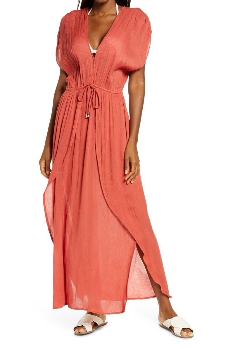ELAN Wrap Maxi Cover-Up Dress, Main, color, AUBURN