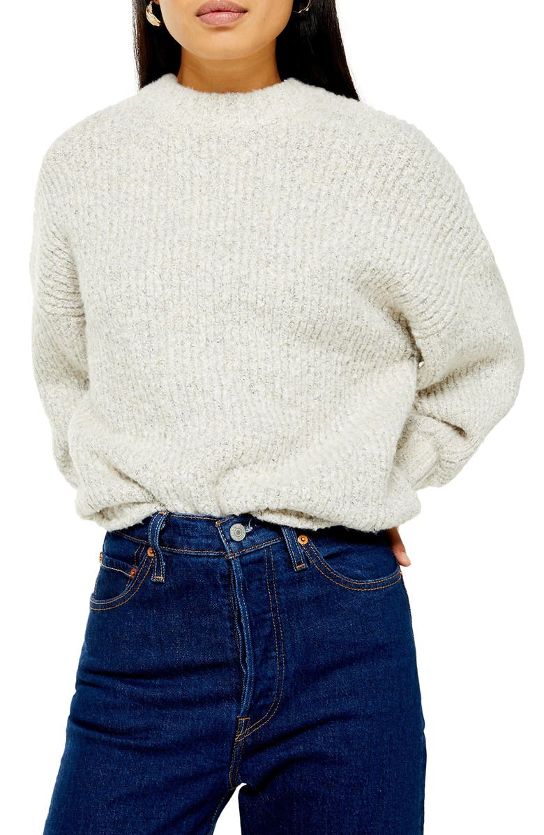 TOPSHOP Bouclé Sweater, Main, color, 251
