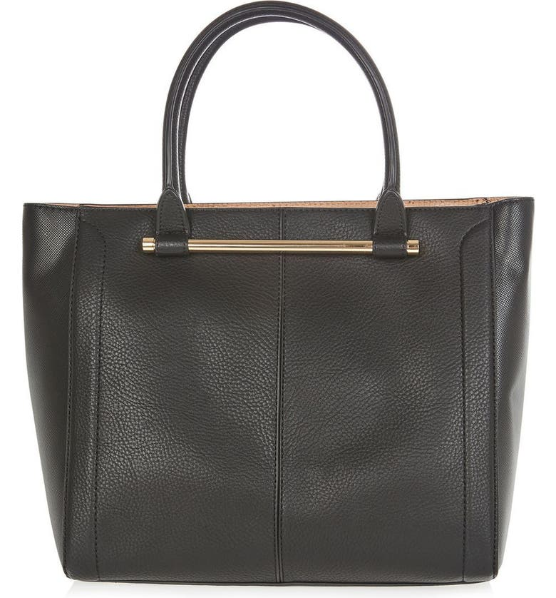 TOPSHOP Halo Bar Handle Faux Leather Tote, Main, color, 001