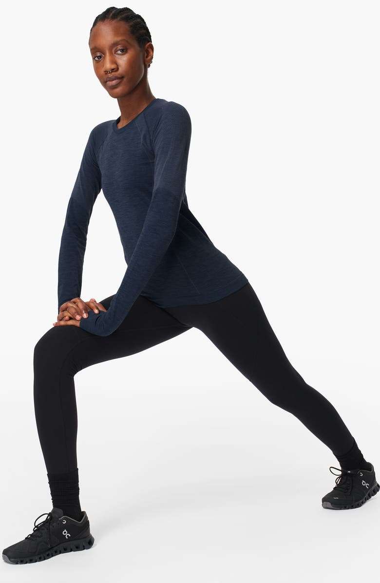 SWEATY BETTY Athlete Seamless Long Sleeve Workout Top, Main, color, NAVY BLUE