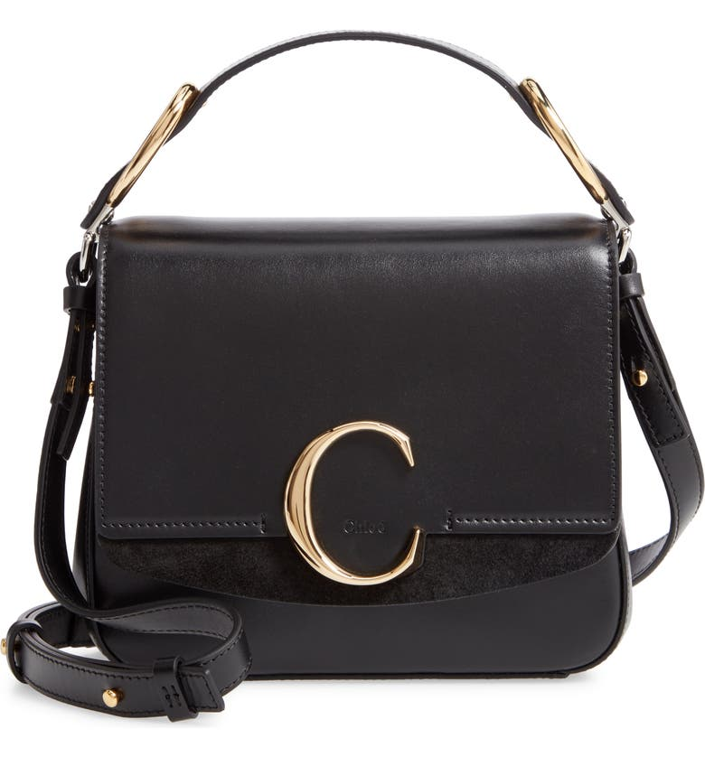 CHLOÉ Small C Convertible Leather Bag, Main, color, BLACK