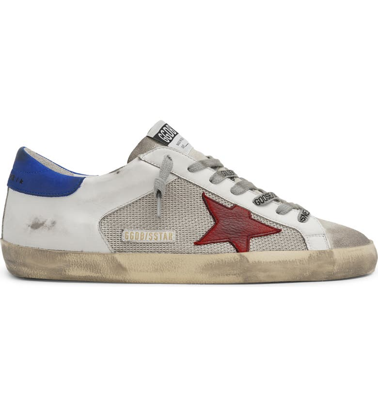 GOLDEN GOOSE Super-Star Low Top Sneaker, Main, color, SILVER/ WHITE/ RED/ BLUE