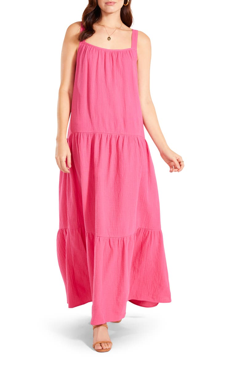 BB DAKOTA BY STEVE MADDEN Arianna Sleeveless Tiered Cotton Maxi Dress, Main, color, RASPBERRY