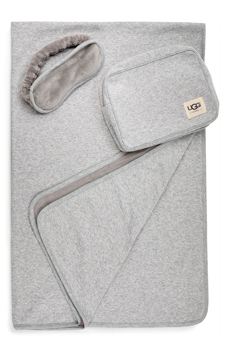 UGG<SUP>®</SUP> Duffield Eye Mask, Pouch & Blanket Travel Set, Main, color, GREY