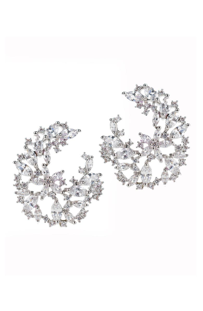 CZ BY KENNETH JAY LANE Marquise Round CZ Cluster Earrings, Main, color, CLEAR-SILVER