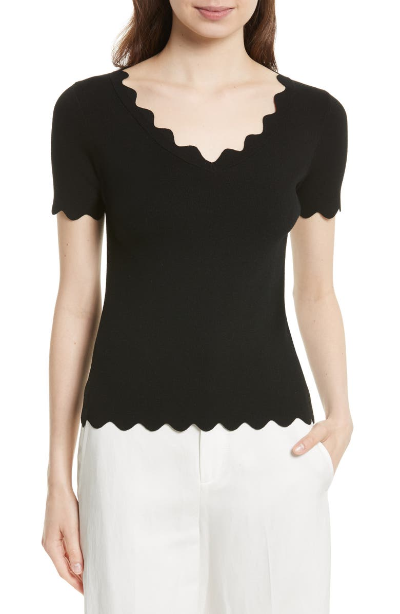 MILLY Scallop Top, Main, color, 001