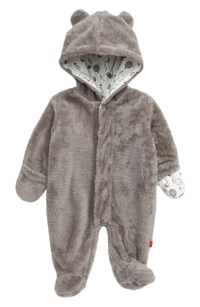 MAGNETIC ME Minky Fleece Hooded Footie, Main, color, 020