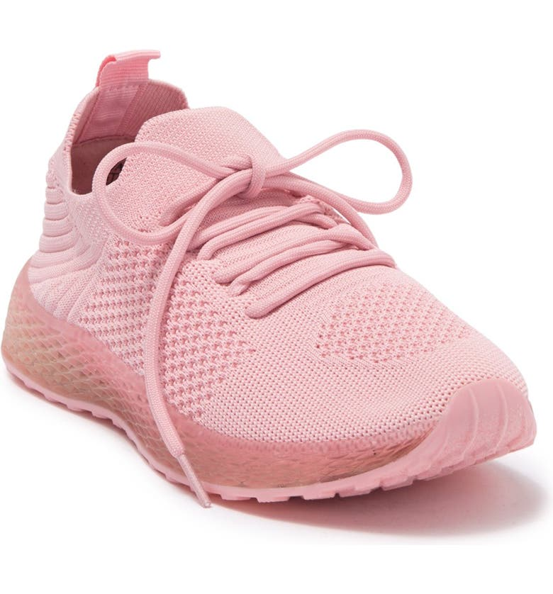 WANTED FOOTWEAR Knit Lace-Up Sneaker, Main, color, PINK