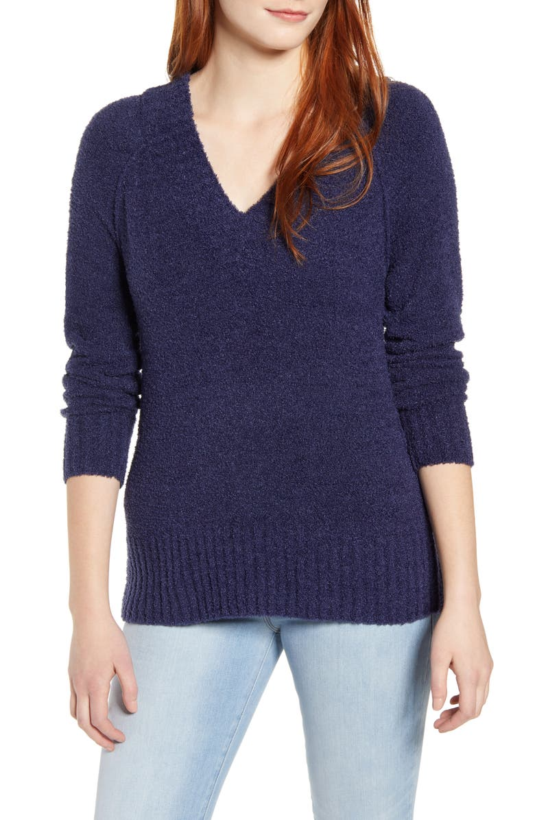 CASLON<SUP>®</SUP> Plushy Double V-Neck Pullover, Main, color, 401