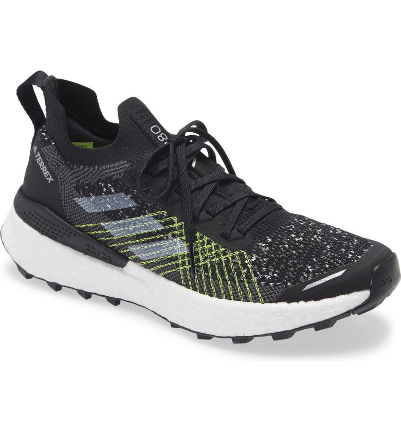 ADIDAS Terrex Two Ultra Parley Trail Running Shoe, Main, color, CR BLACK/ WHITE/ SOLAR YELLOW