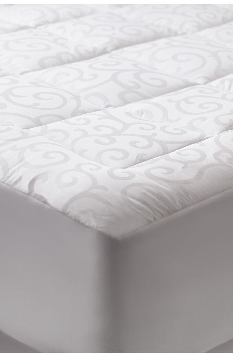 CLIMAREST Candice Olson Queen Cotton Jacquard Waterproof Mattress Pad, Main, color, WHITE