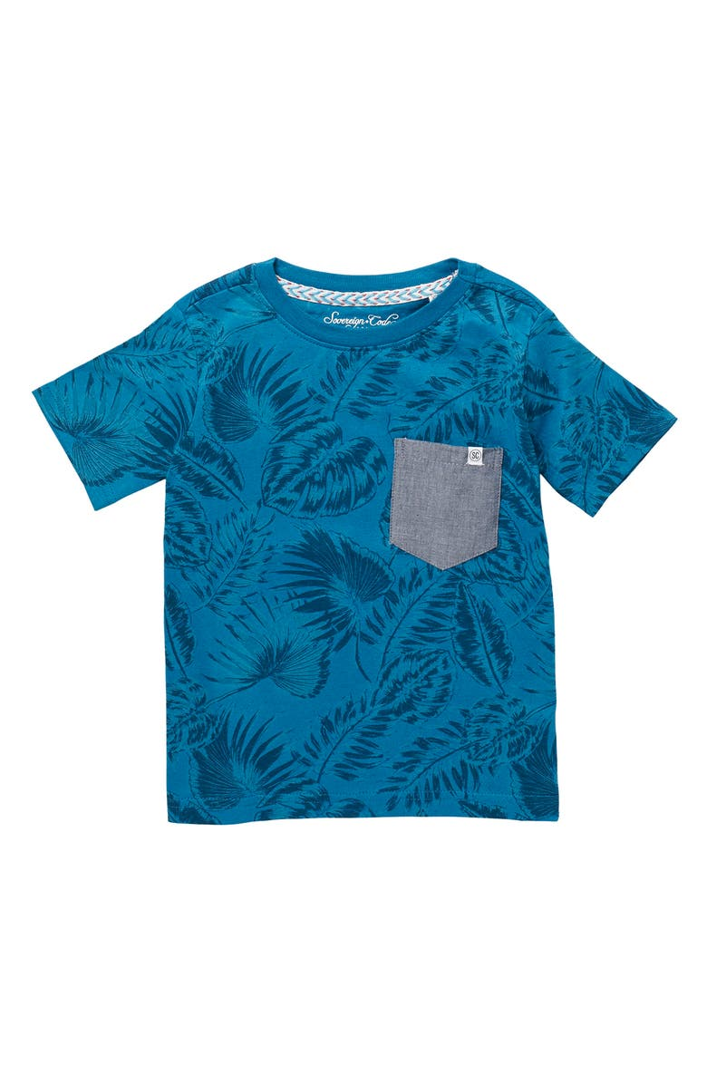 SOVEREIGN CODE Travis Palm Pocket Tee, Main, color, HIGHLIGHTS/ TEAL
