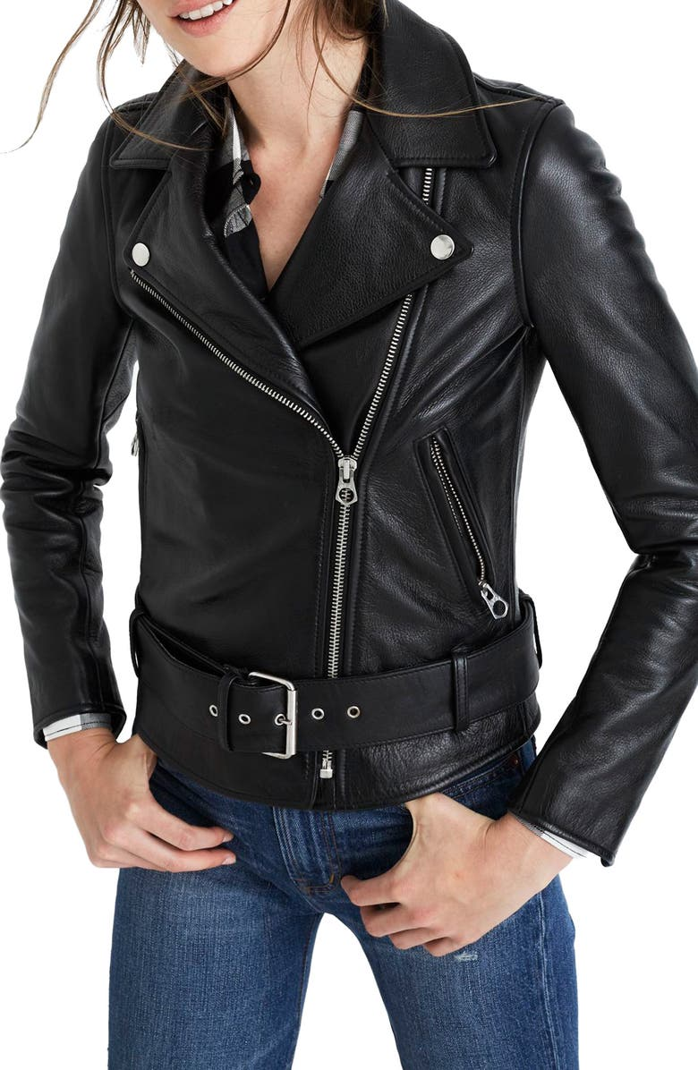 MADEWELL Ultimate Leather Jacket, Main, color, TRUE BLACK