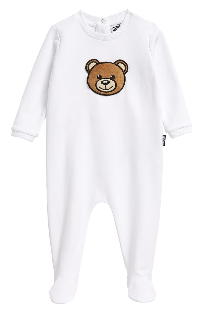 MOSCHINO Squeaky Bear Patch Stretch Cotton Footie, Main, color, WHITE