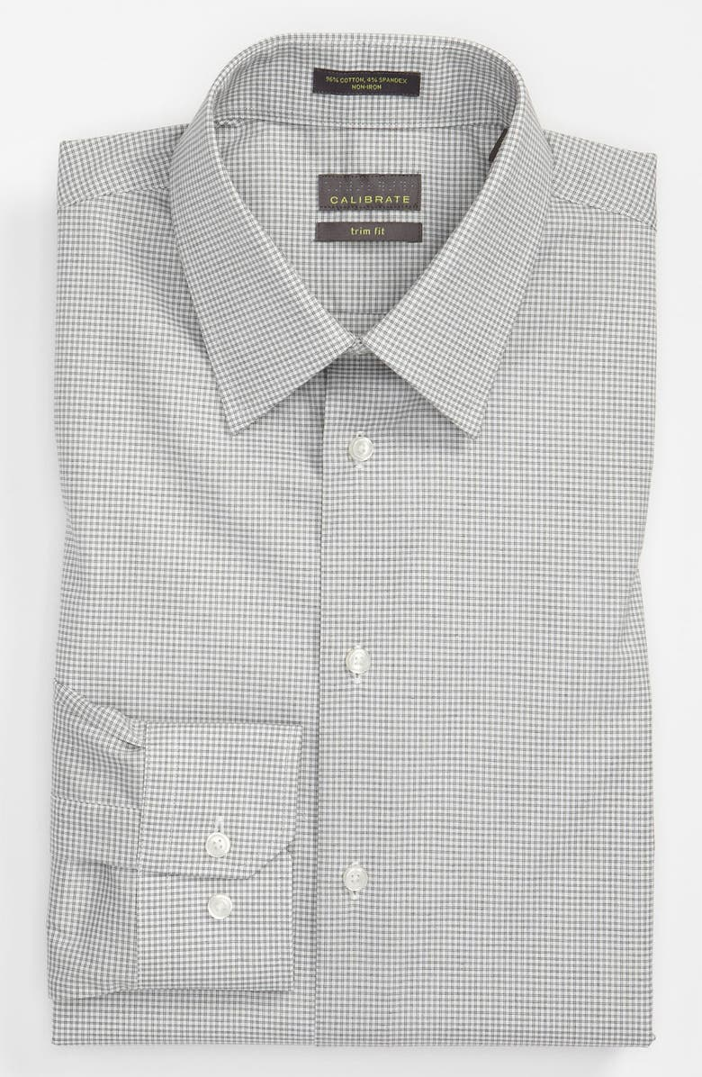 CALIBRATE Trim Fit Non-Iron Dress Shirt, Main, color, 001