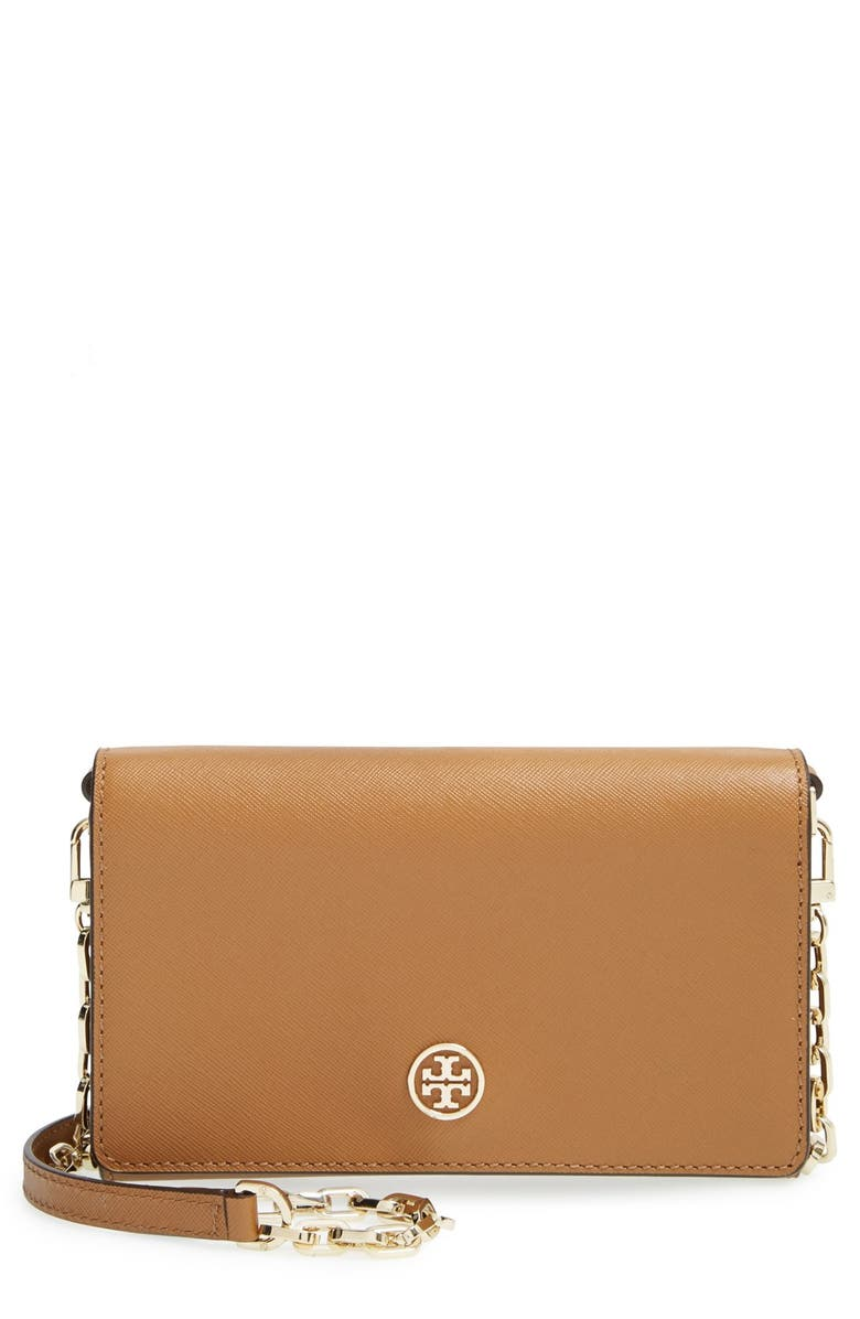 TORY BURCH 'Robinson' Leather Wallet on a Chain, Main, color, 211