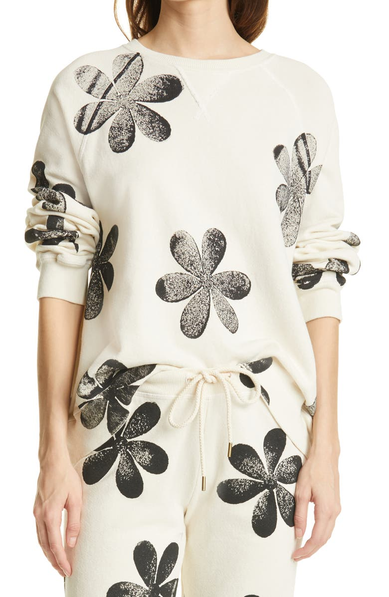 THE GREAT. The Slouch Daisy Print Cotton Sweatshirt, Main, color, WASHED WHITE