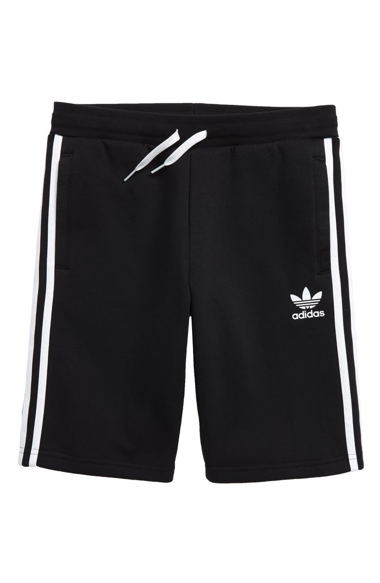 ADIDAS ORIGINALS Fleece Shorts, Main, color, BLACK/ WHITE
