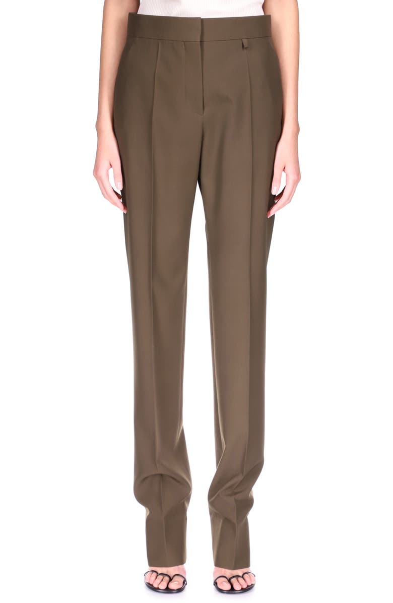 GIVENCHY High Waist Tapered Trousers, Main, color, DARK KHAKI
