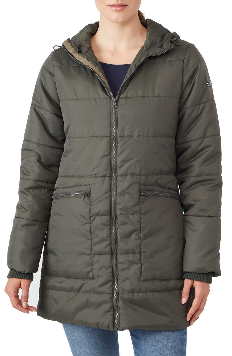 MODERN ETERNITY 3-in-1 Hybrid Quilted Waterproof Maternity Puffer Coat, Main, color, KHAKI GREEN