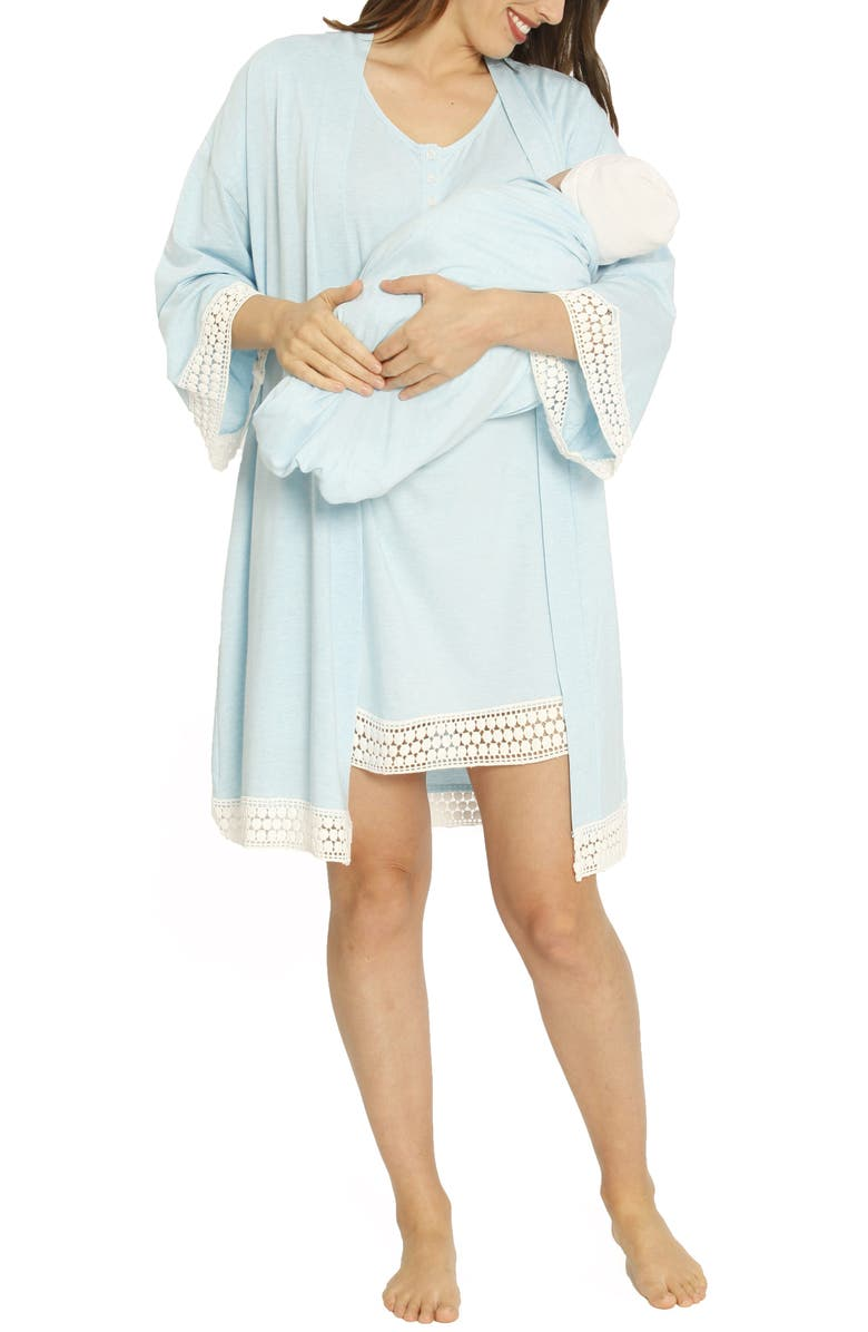 ANGEL MATERNITY Ruby Maternity/Nursing Sleep Shirt, Robe & Baby Blanket Set, Main, color, 400