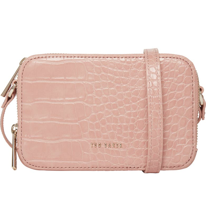TED BAKER LONDON Stina Embossed Faux Leather Crossbody Bag, Main, color, MID PINK