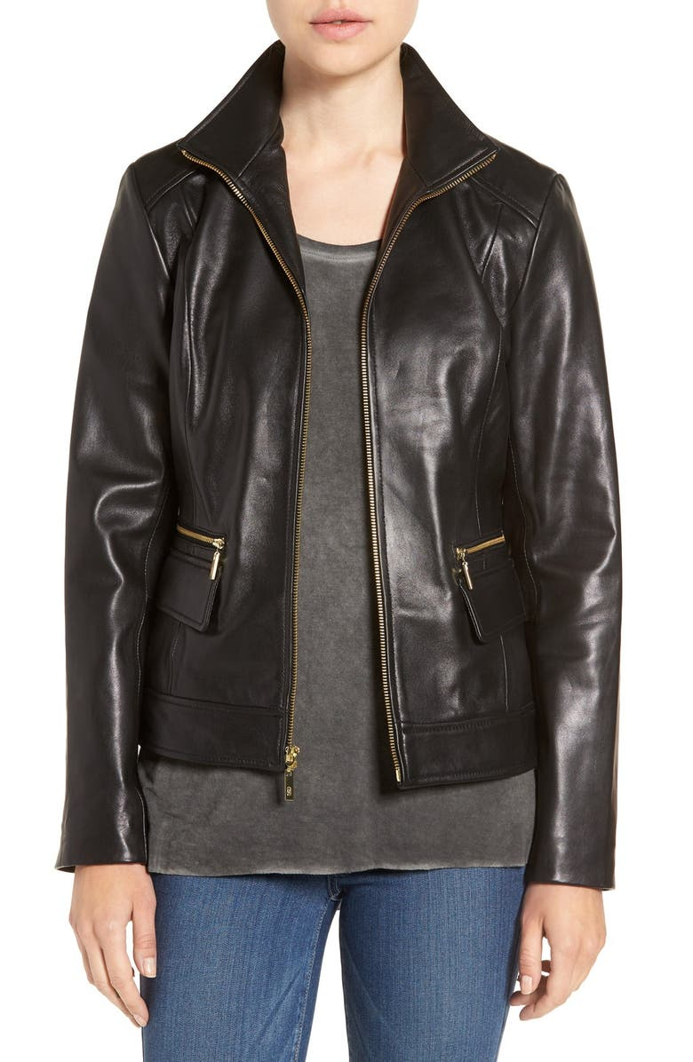 COLE HAAN Wing Collar Leather Jacket, Main, color, 001