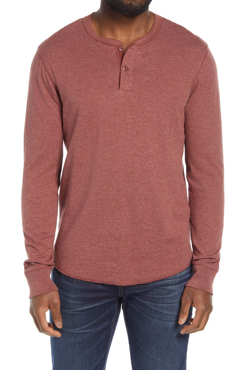 MADEWELL Doubledown Henley, Main, color, HEATHER FADED MAHOGANY
