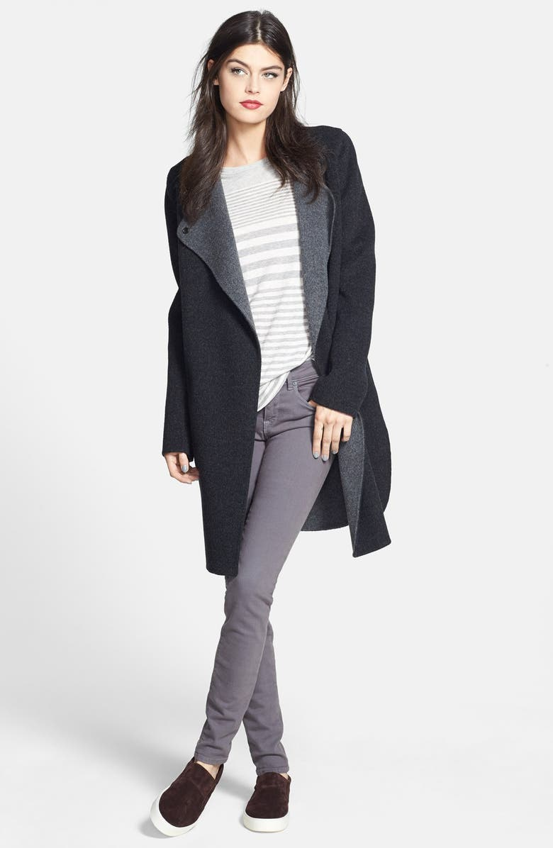 VINCE Two-Tone Coat, Main, color, CHARCOAL/ HEATHER GRAPHITE
