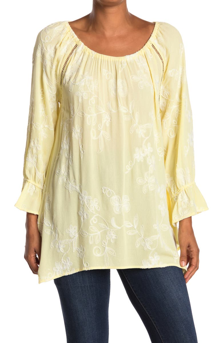 FORGOTTEN GRACE Off-the-Shoulder Embroidered Shark Bite Tunic, Main, color, YELLOW