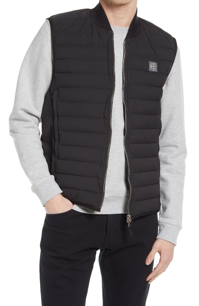 STONE ISLAND Quilted Down Vest, Main, color, BLACK