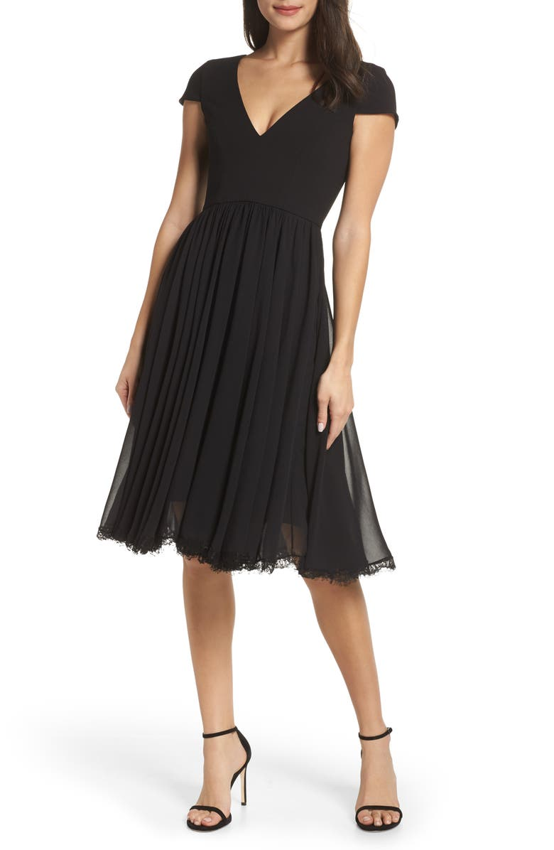 DRESS THE POPULATION Corey Chiffon Fit & Flare Cocktail Dress, Main, color, BLACK
