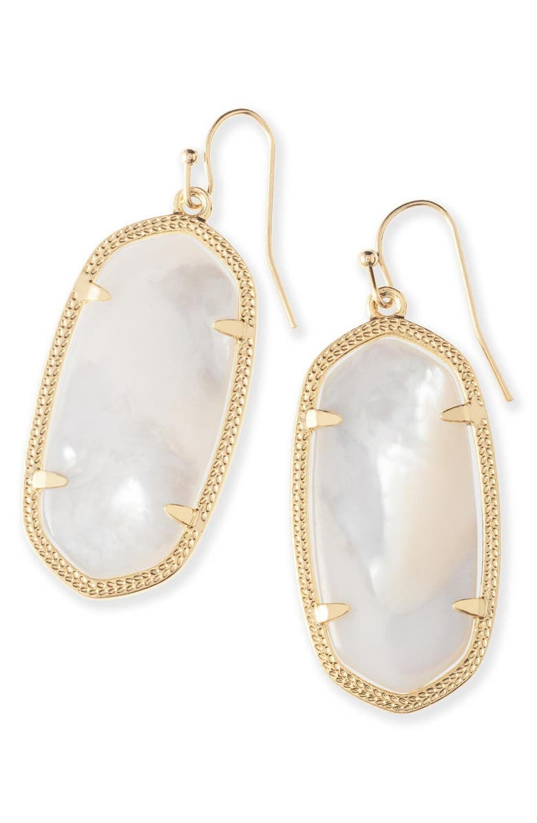 KENDRA SCOTT Elle Filigree Drop Earrings, Main, color, IVORY MOTHER OF PEARL/ GOLD