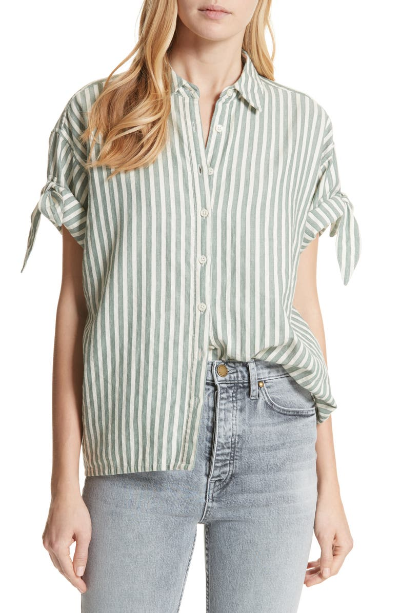 THE GREAT. The Tie Sleeve Stripe Shirt, Main, color, GREEN STRIPE