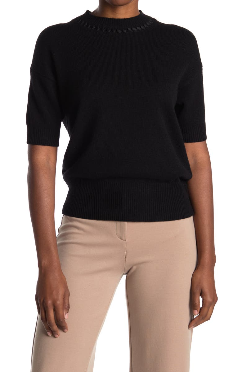THEORY Stitch Detail Mock Neck Short Sleeve Cashmere Sweater, Main, color, BLACK