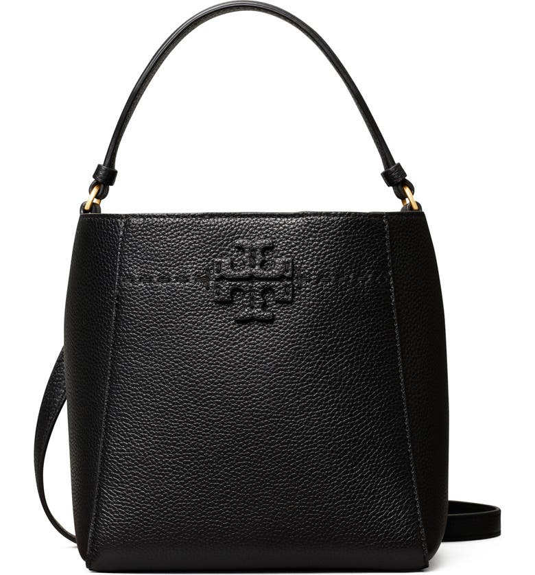 TORY BURCH McGraw Small Leather Bucket Bag, Main, color, BLACK