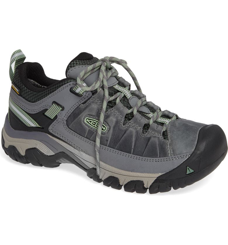 KEEN Targhee III Waterproof Hiking Shoe, Main, color, BLEACHER/ DUCK GREEN LEATHER