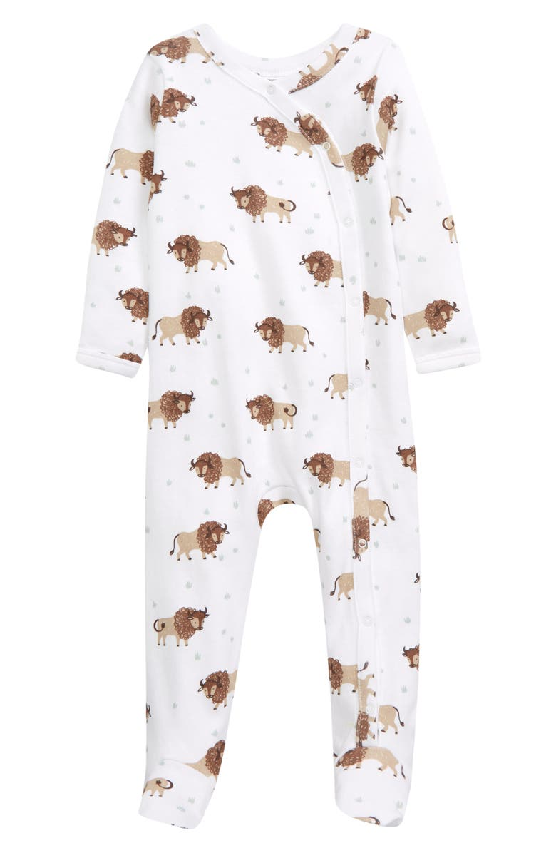 NORDSTROM Baby Print Footie, Main, color, WHITE BUFFALO