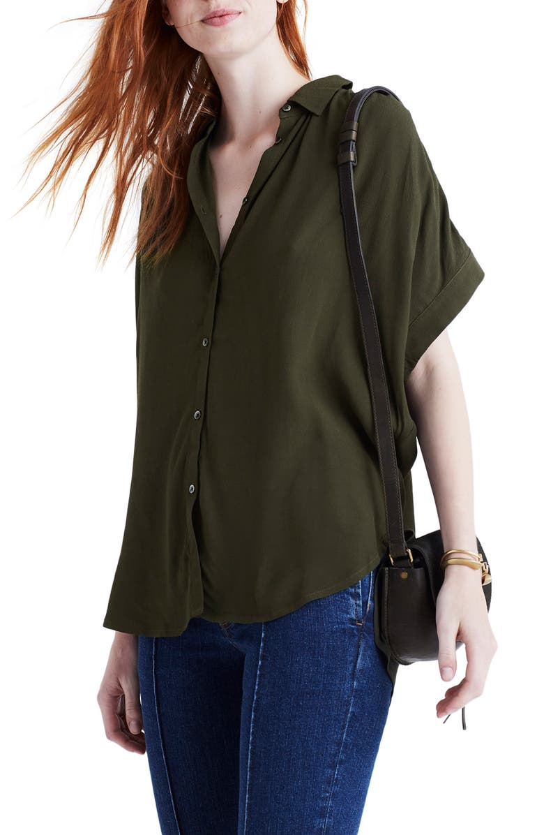 MADEWELL Central Drapey Shirt, Main, color, KALE