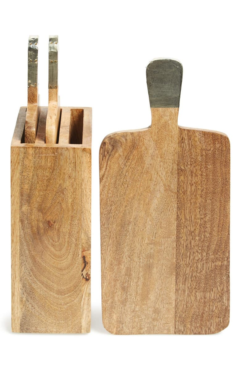THIRSTYSTONE 'Urban Farm' Mango Wood Serving Boards & Holder, Main, color, 200