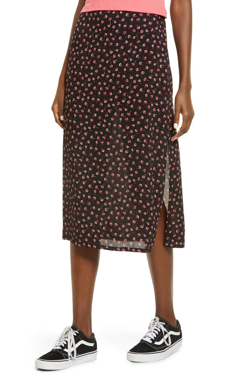 BP. Women's Print Skirt, Main, color, BLACK TOSSED DITSY