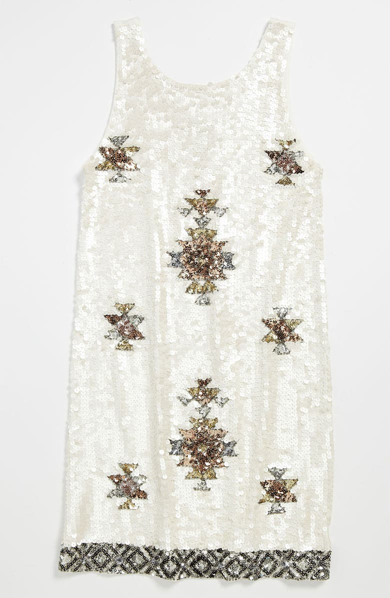 FLOWERS BY ZOE Sequin Tank Dress, Main, color, OFF WHITE