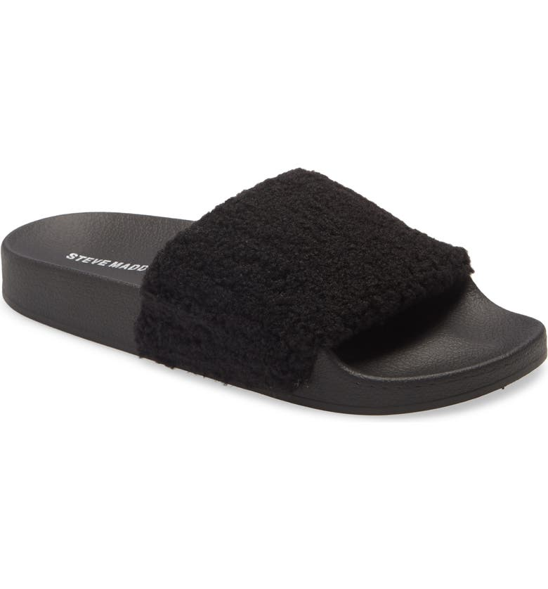 STEVE MADDEN Shear Faux Shearling Slide Slipper, Main, color, 001