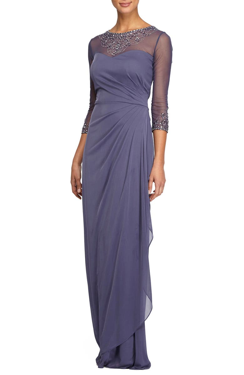 ALEX EVENINGS Embellished Chiffon Gown, Main, color, VIOLET