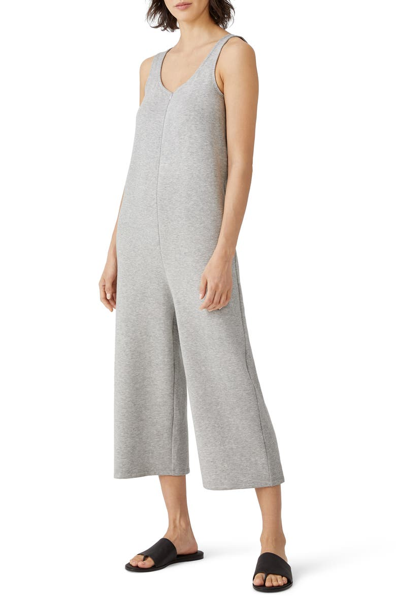 EILEEN FISHER Sleeveless Crop Wide Leg Jumpsuit, Main, color, DARK PEARL