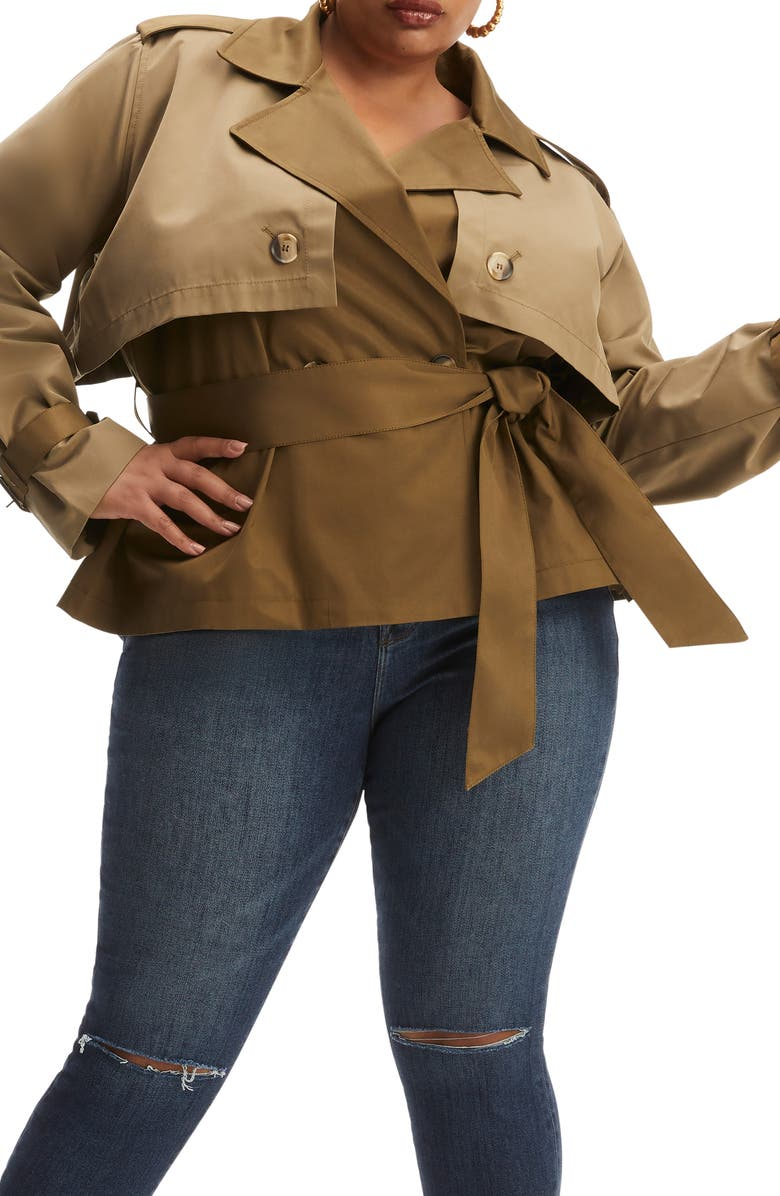 GOOD AMERICAN Short Trench Coat, Main, color, DIRTY OLIVE