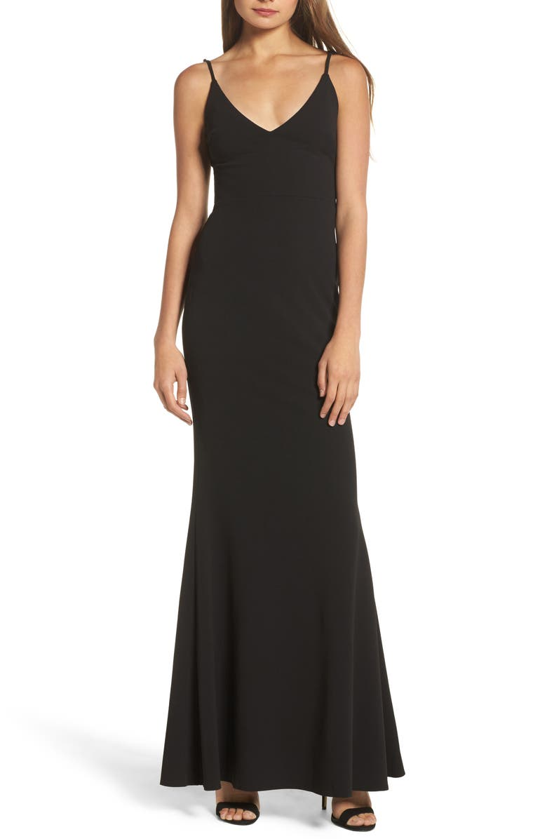 LULUS V-Neck Trumpet Gown, Main, color, 001