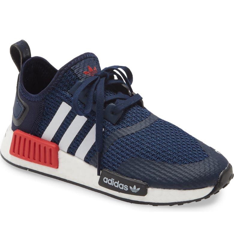ADIDAS NMD R1 Sneaker, Main, color, NAVY/ WHITE/ SCARLET