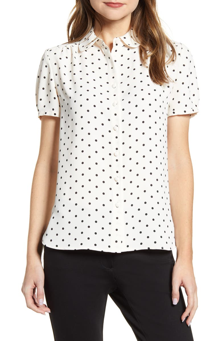 ANNE KLEIN Dot Print Collared Short Sleeve Blouse, Main, color, 100