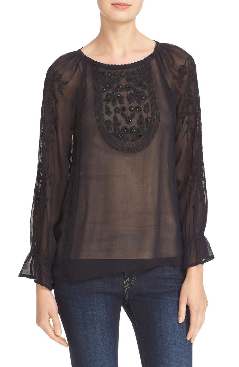 JOIE Metta Embroidered Peasant Blouse, Main, color, 002